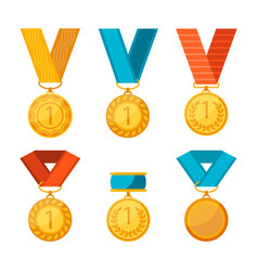 colorful collection of golden medals with vector image vector image