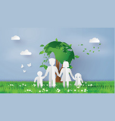 eco concept with family vector image vector image