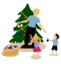Father with children decorate Christmas tree vector image