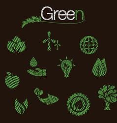 Green eco icons set hand drawn vector