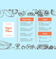vegan cafe menu hand drawn typographic design vector image