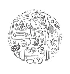 active sports things doodle icons set vector image vector image