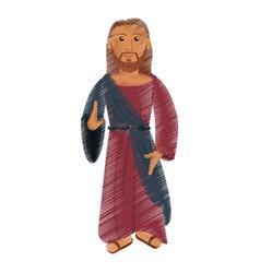 drawing jesus christ christianity design vector image
