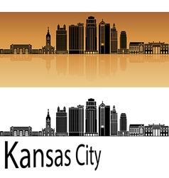 Kansas City V2 skyline in orange vector image
