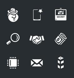set of espionage icons vector image