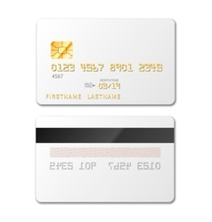 White blank credit card mockup on white vector image vector image