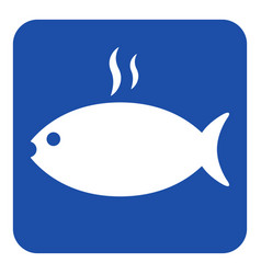 blue white sign - grilling fish with smoke icon vector image vector image