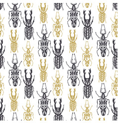 cute hand drawn seamless pattern with insect vector image