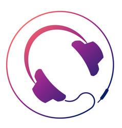 headphones round icon vector image vector image