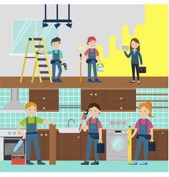 house improvement team horizontal banners vector image vector image