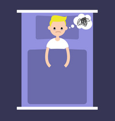 insomnia conceptual young blonde boy lying in vector image