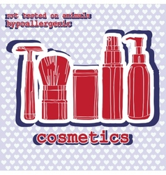 set of cosmetics sticker vector image