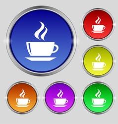 tea coffee icon sign Round symbol on bright vector image vector image