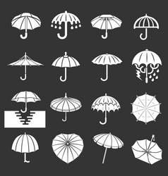 umbrella icons set grey vector image