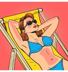 Woman got a sunburn pop art vector image