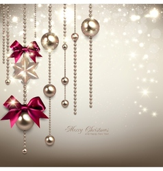 Elegant Christmas background with red ribbons and vector image vector image