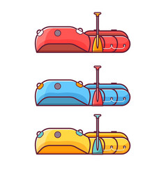 fishing inflatable rafting boat icon vector image vector image