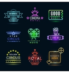 Neon circus and cinema or movie emblems vector image vector image