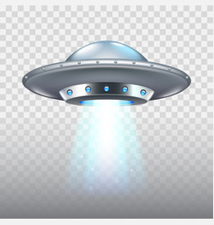 ufo flying spaceship isolated on white vector image