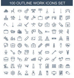 100 work icons vector