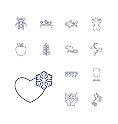 13 nature icons vector