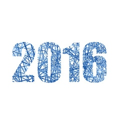 2016 figures from network New year line numbers vector