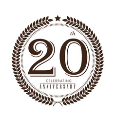 20th anniversary celebrating logo on white vector image