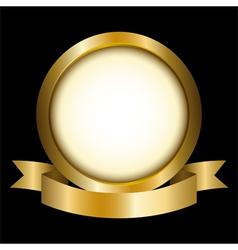 A gold circle with ribbon emblem vector