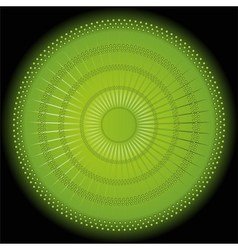 Abstract rays circular dark green background vector