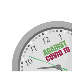 Analog clock with text against covid-19 vector