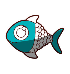 Aquamarine silhouette of fish with big eye vector