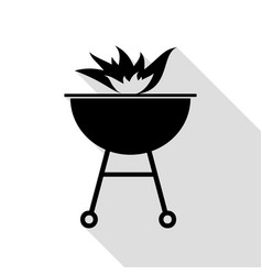 barbecue with fire sign black icon with flat vector image