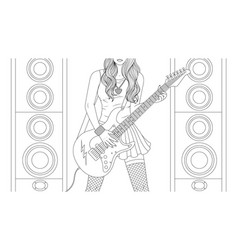 beautiful girl guitar player vector image