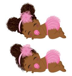 Black baby girl in pink ruffled diaper vector