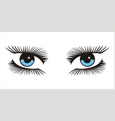 blue woman looking eyes icon on white background vector image