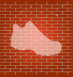 boot sign whitish icon on brick wall as vector image