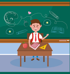 boy student in desk with book and apple fruit vector image