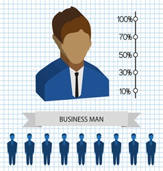 Businessman profiles icons with chart flat style D vector