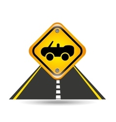 cabriolet car yellow road street sign vector image