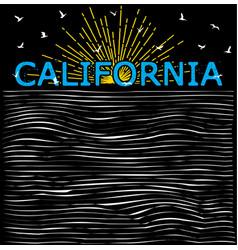 California summer beach background in retro style vector
