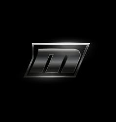 Carbon speed letter m logo dark matte metal vector