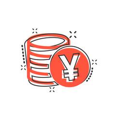 Cartoon yen yuan money currency icon in comic vector