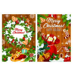 christmas wreath toys and gifts vector image