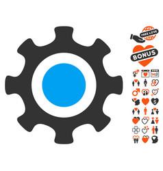 cogwheel icon with love bonus vector image