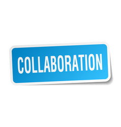 Collaboration square sticker on white vector