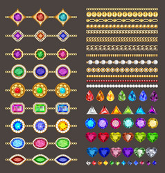 Collection jewelry design elements gold chains vector