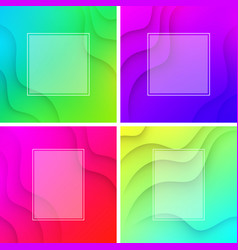 colorful wavy backgrounds with white frame vector image