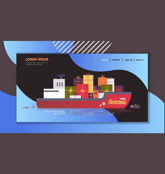 Container cargo ship with gift present boxes vector