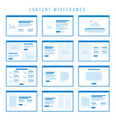 Content wireframe components for prototypes vector