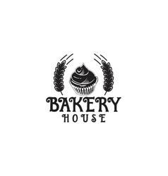 cupcake wheat bakery logo vector image